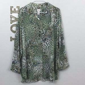 CHICO'S BEJEWELED COLLAR BUTTON DOWN SHIRT